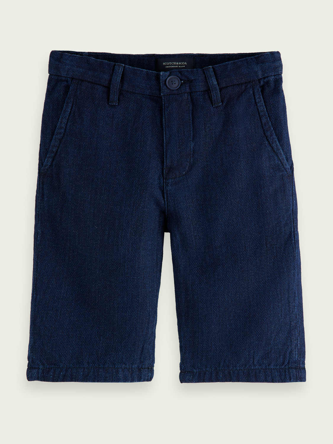 Kids Cotton-linen denim chino shorts