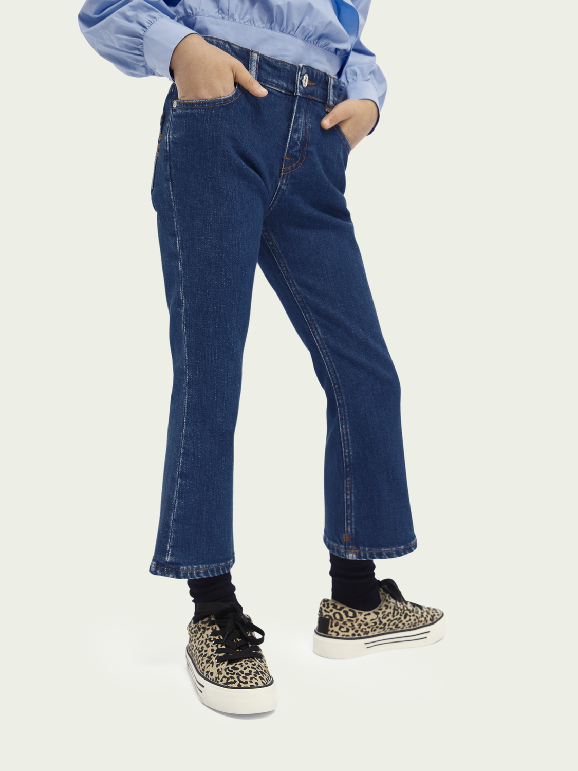 Kids The Kick high-rise flared organic cotton jeans - Etched In Blue