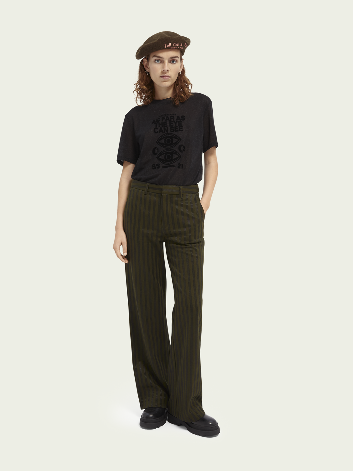Women Edie high-rise wide-leg cotton-blend trousers