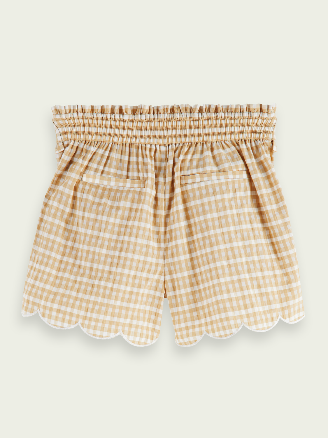 Kids Scalloped cotton-blend belted shorts