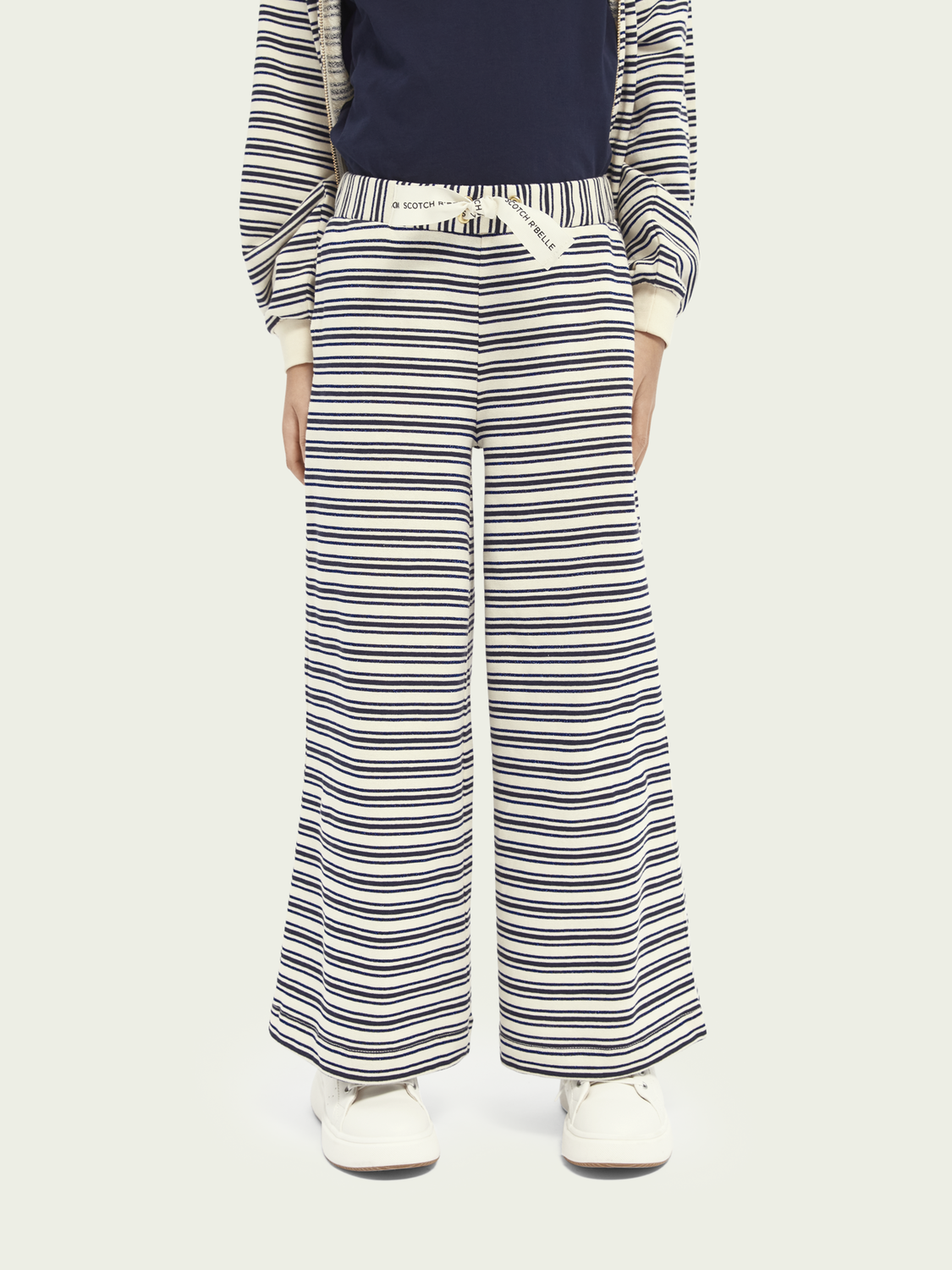 Kids Wide leg organic cotton-blend sweatpants with metallic detail