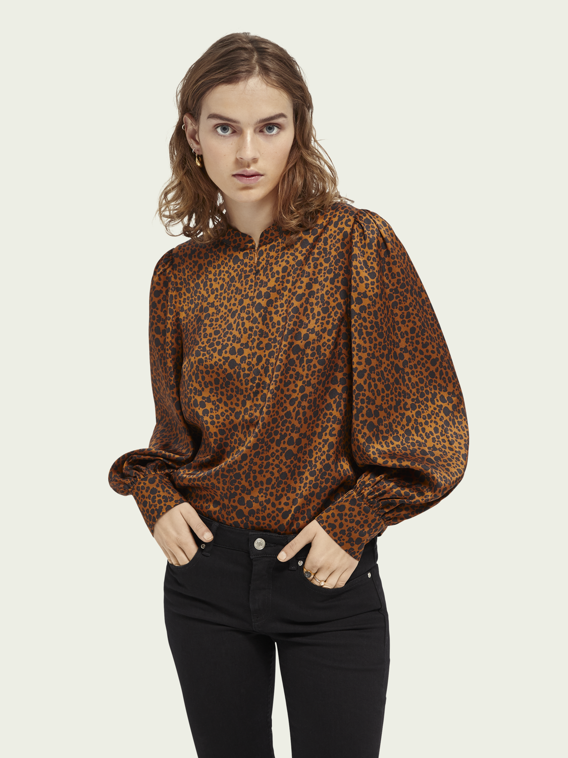 Women Printed puff-sleeved top