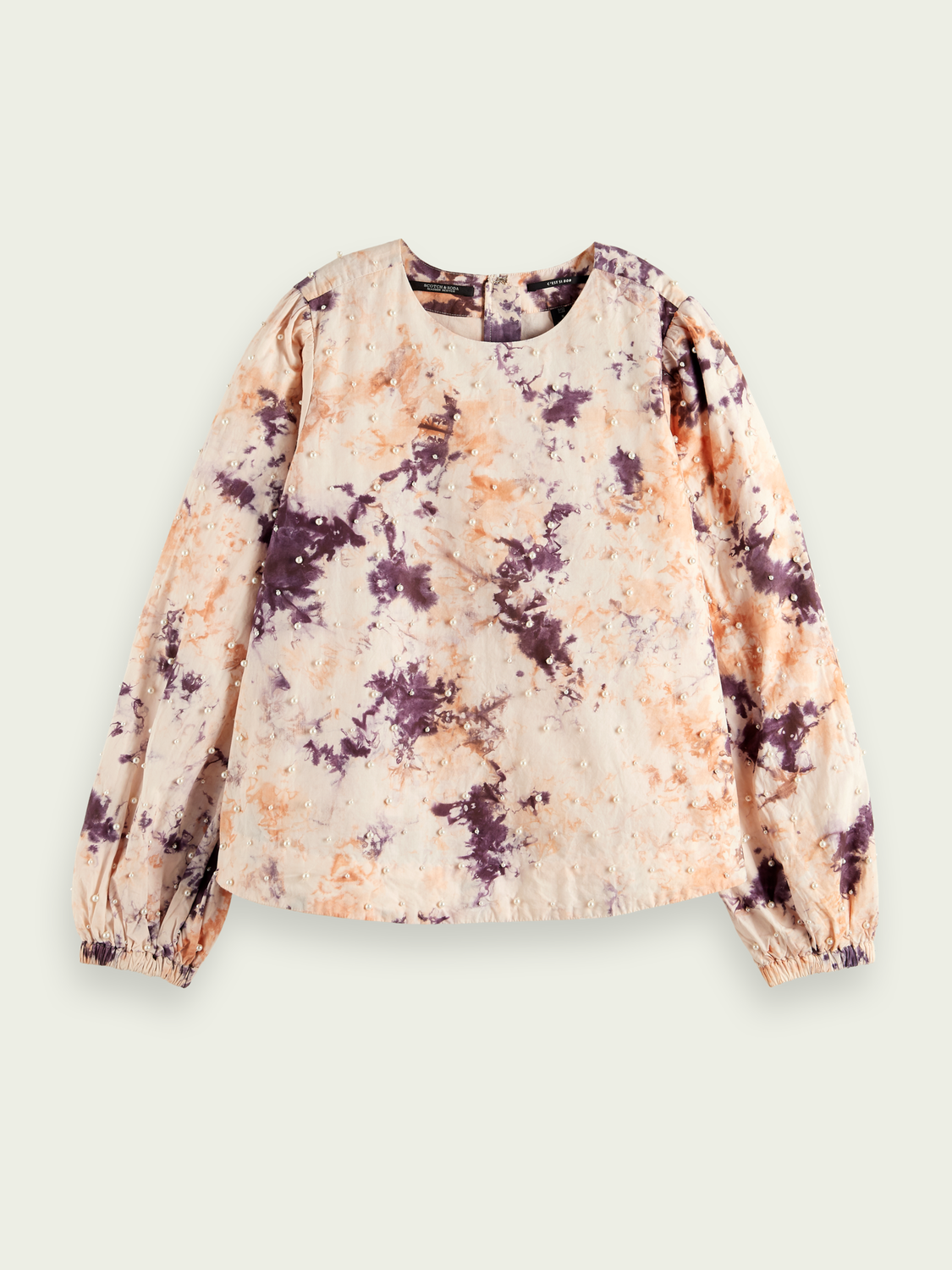 Donna Top in cotone tie-dye con perle