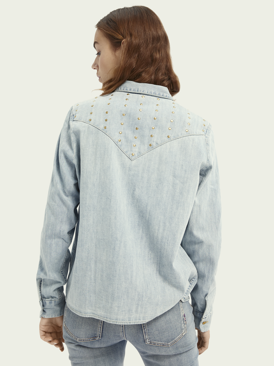 Women Studded western-style denim shirt