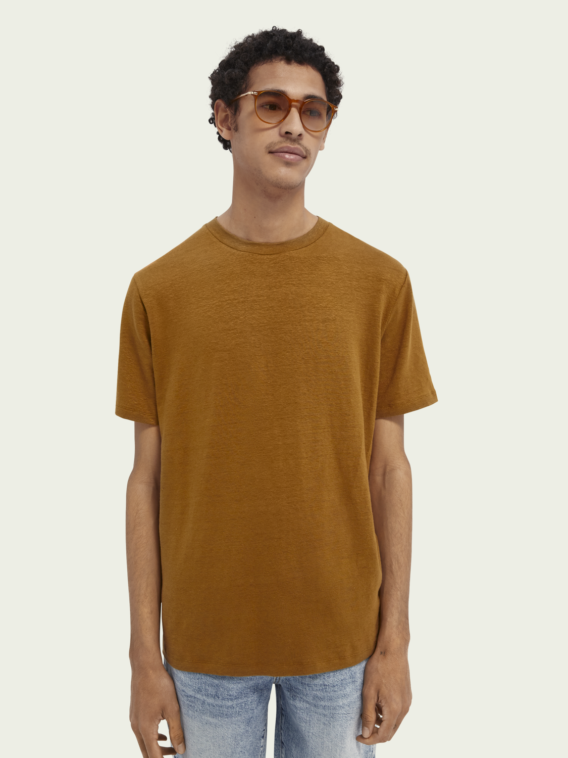 Men Linen-blend jersey t-shirt