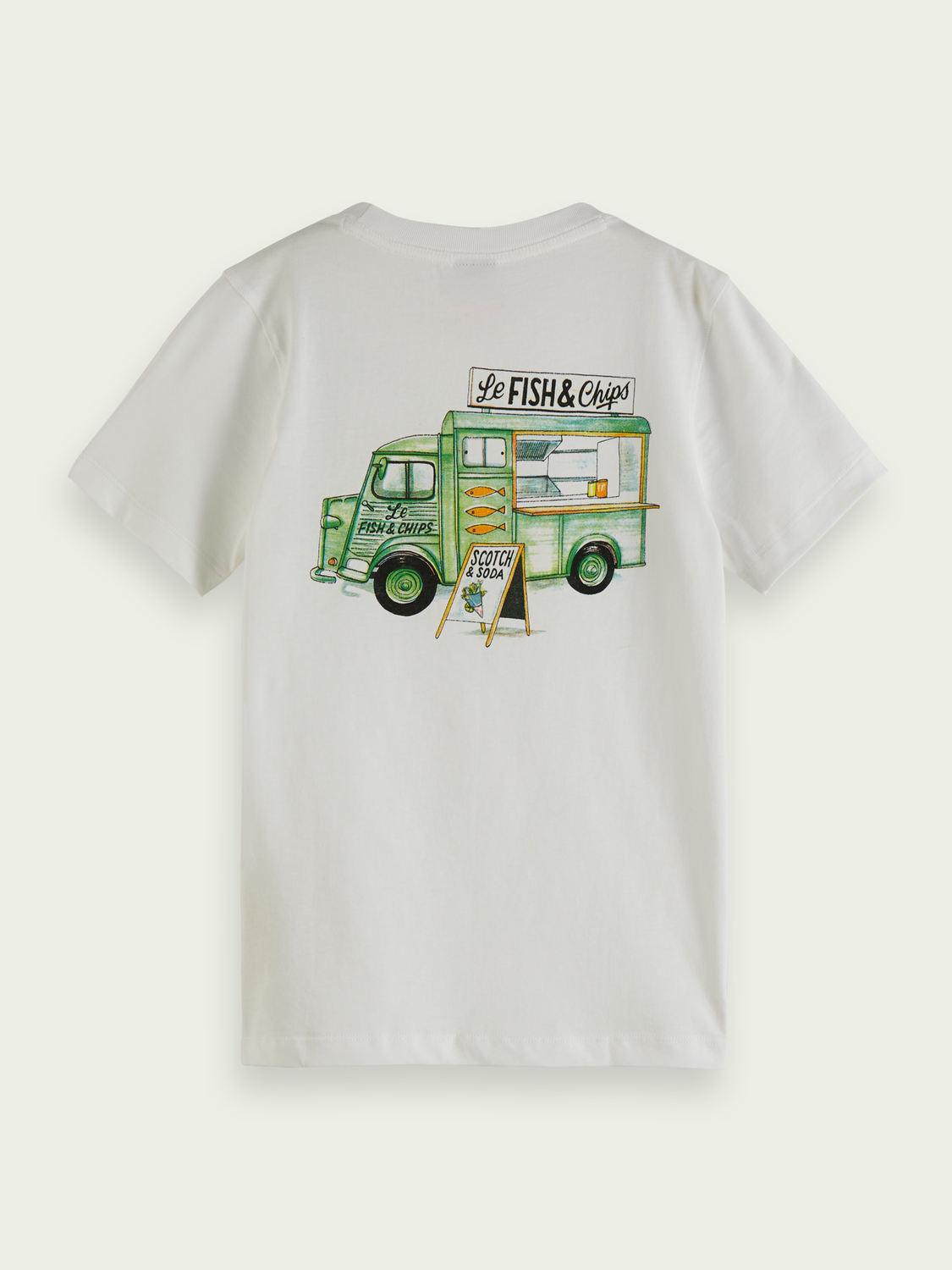 Kids Organic cotton T-shirt with fish and chips artwork