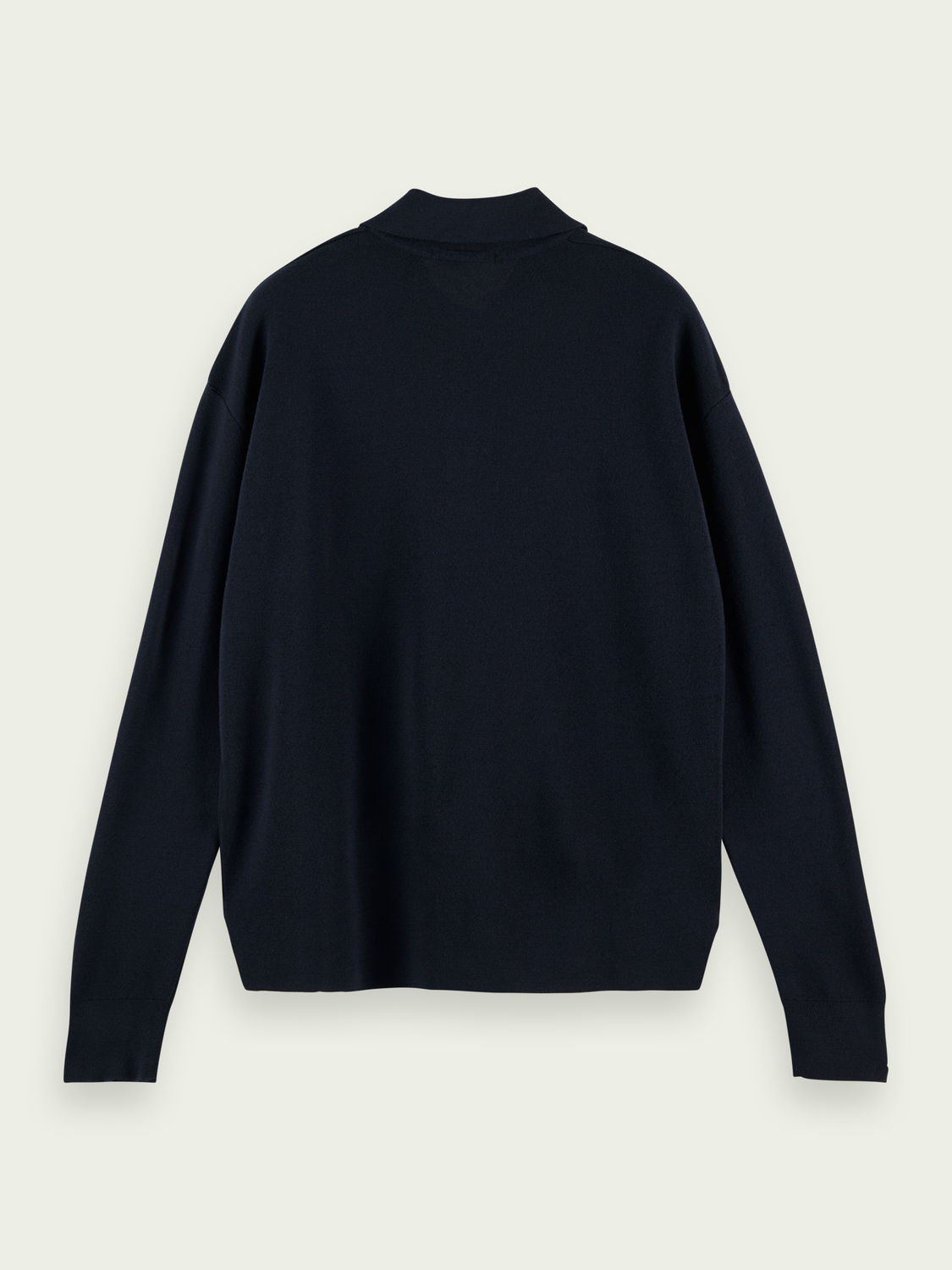 Men Long sleeved Merino wool polo jumper