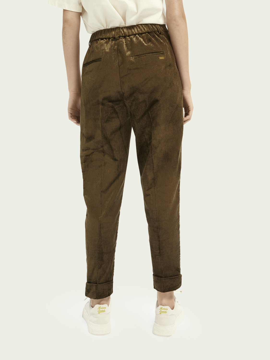 Women High-rise cotton-blend corduroy trousers