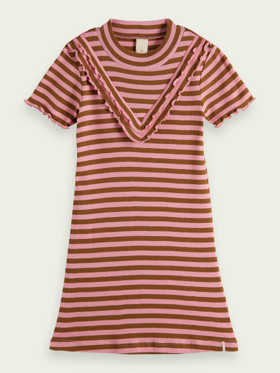 Kids Ruffled yoke ribbed jersey dress