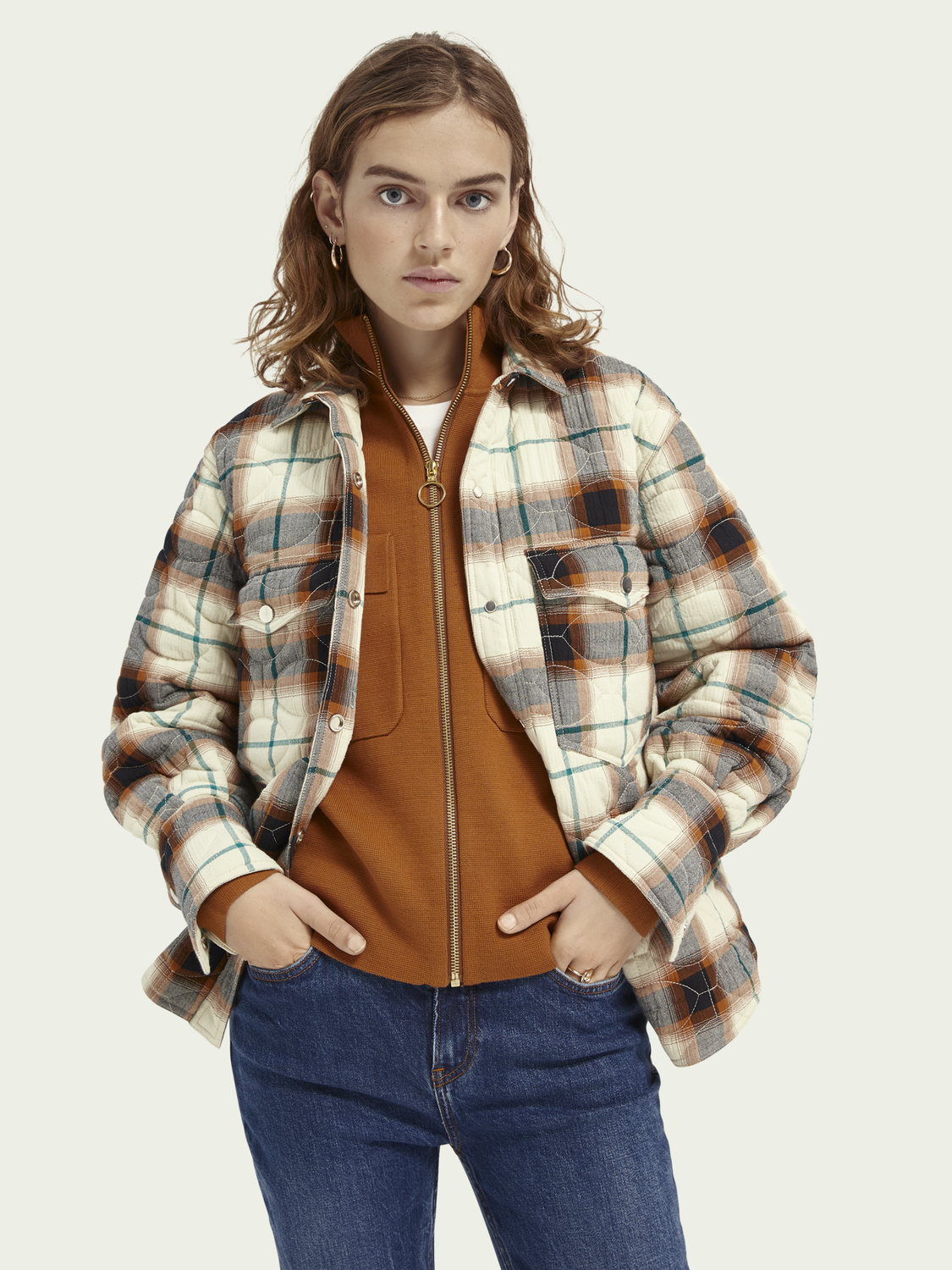 Women Loose fit quilted shirt jacket