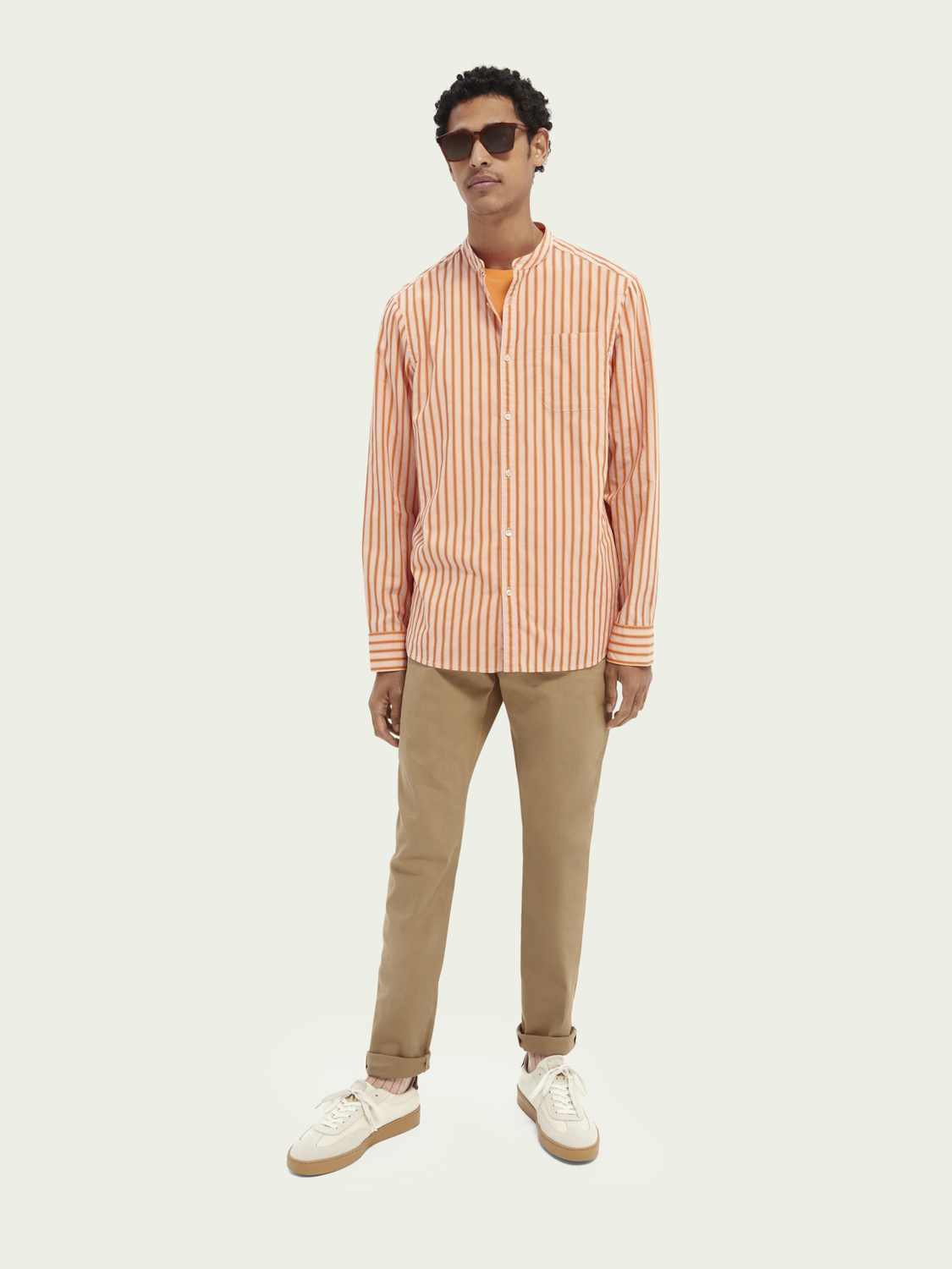 Men Collarless striped shirt