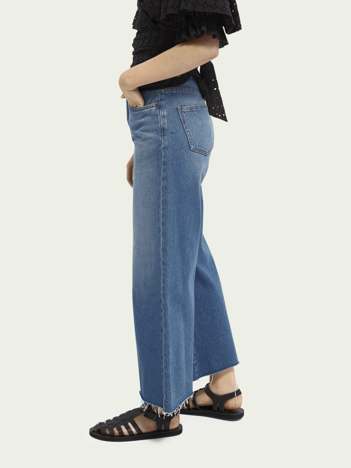 Women Cropped high-rise wide-leg jeans - La Chance