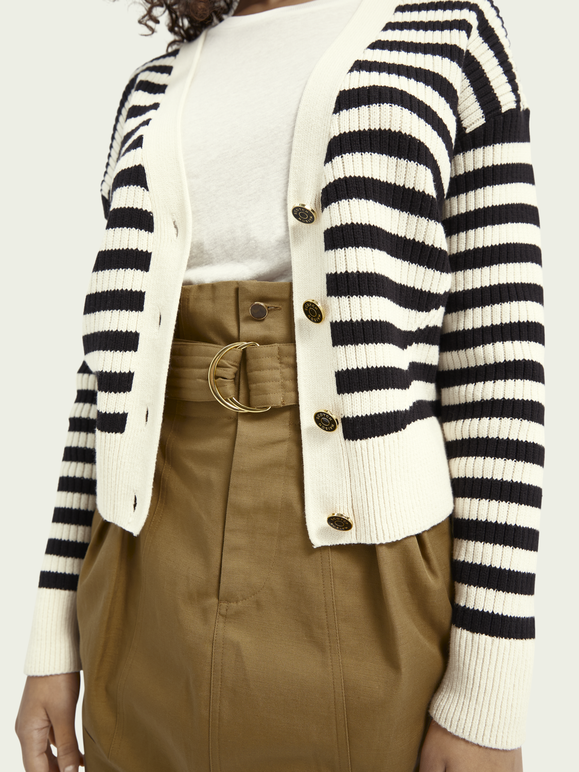 Women Striped organic cotton-blend cardigan