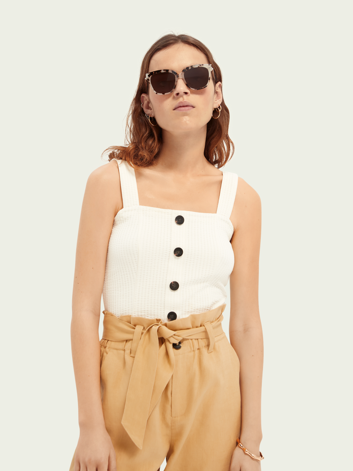 Women Cropped ribbed cotton-blend top