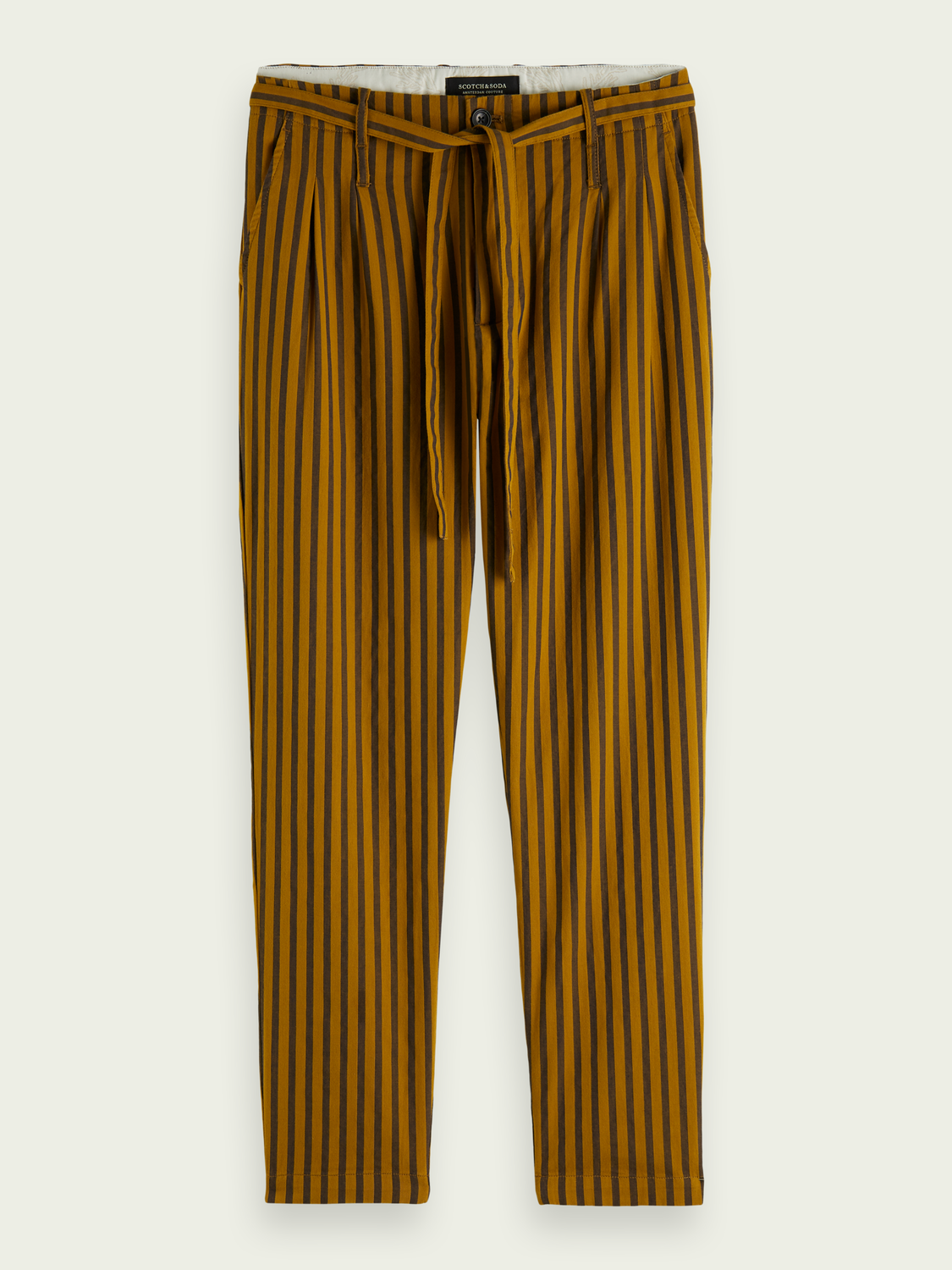 Men Striped cotton schinos with folded pleats