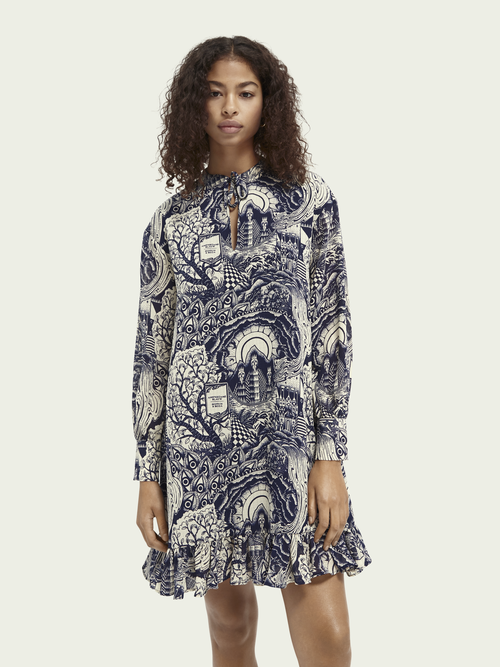 Scotch & Soda LONG SLEEVED V-NECK PRINT DRESS