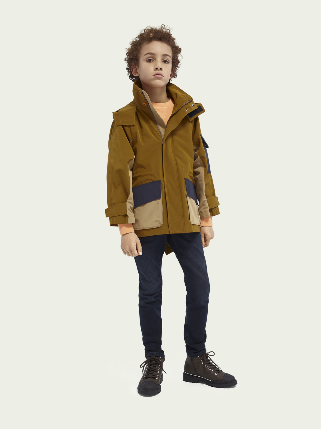 Kids Fishtail colour block jacket