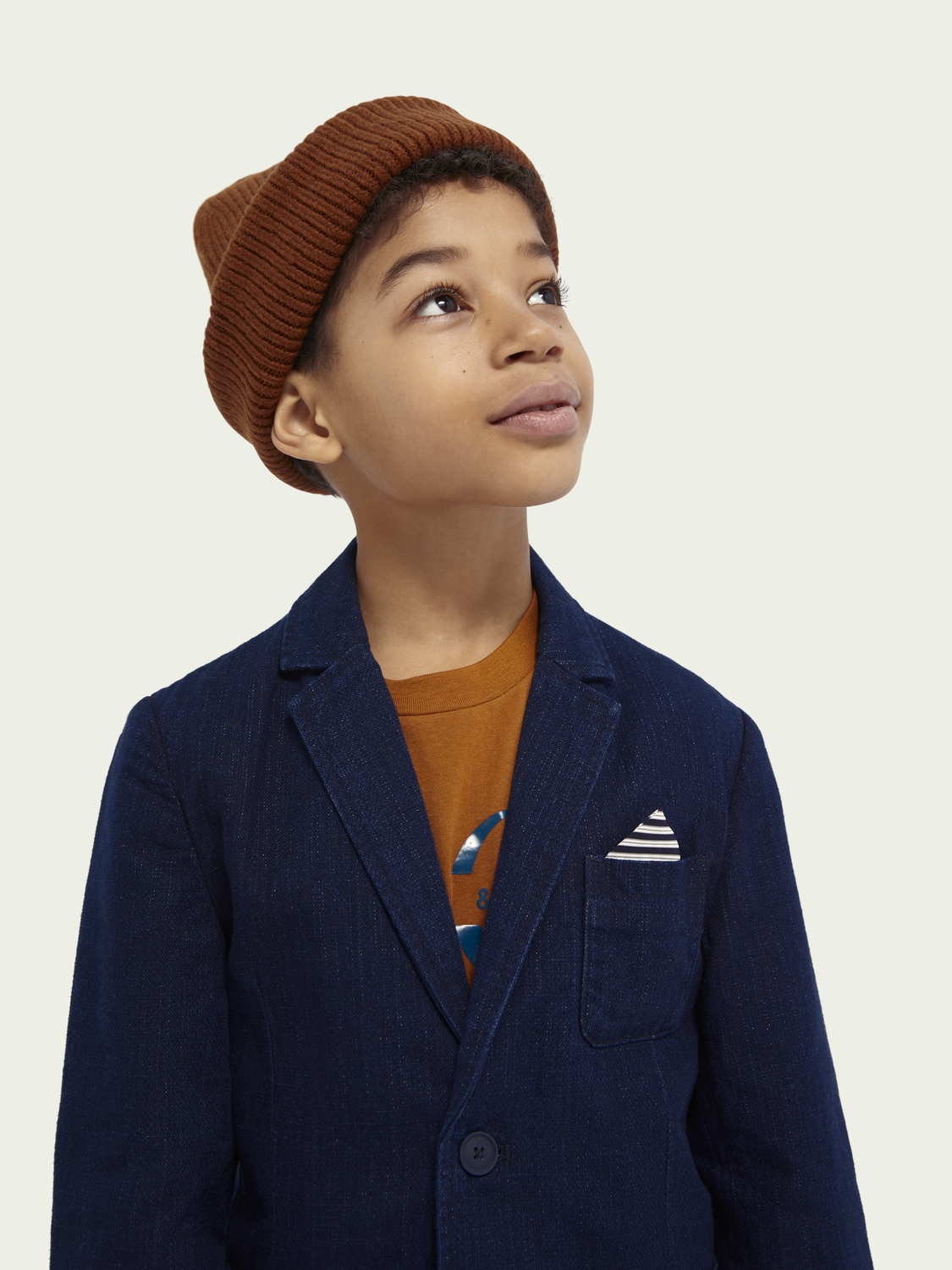 Kids Cotton-linen denim blazer