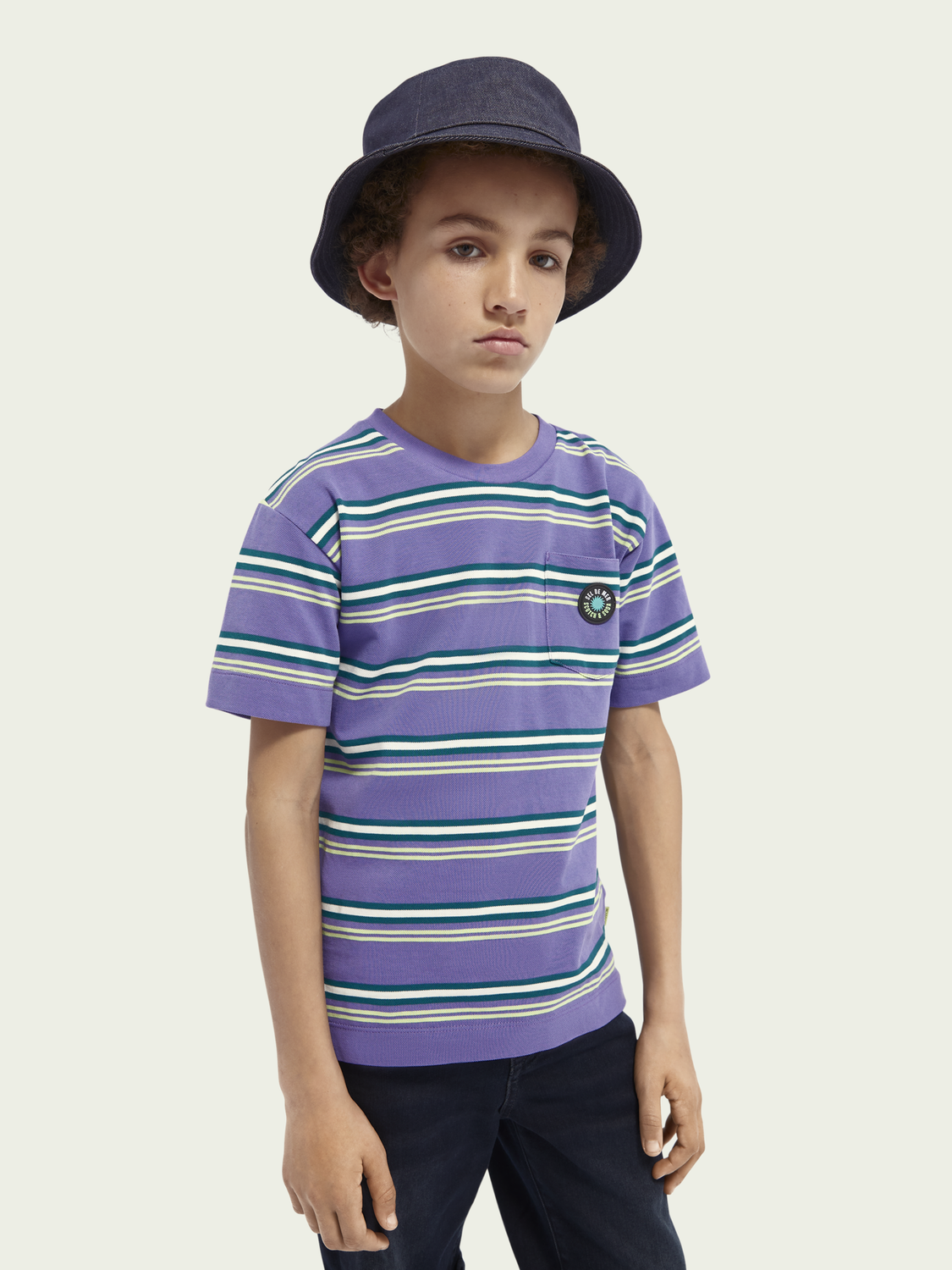 Kids Striped yarn-dyed cotton piqué T-shirt