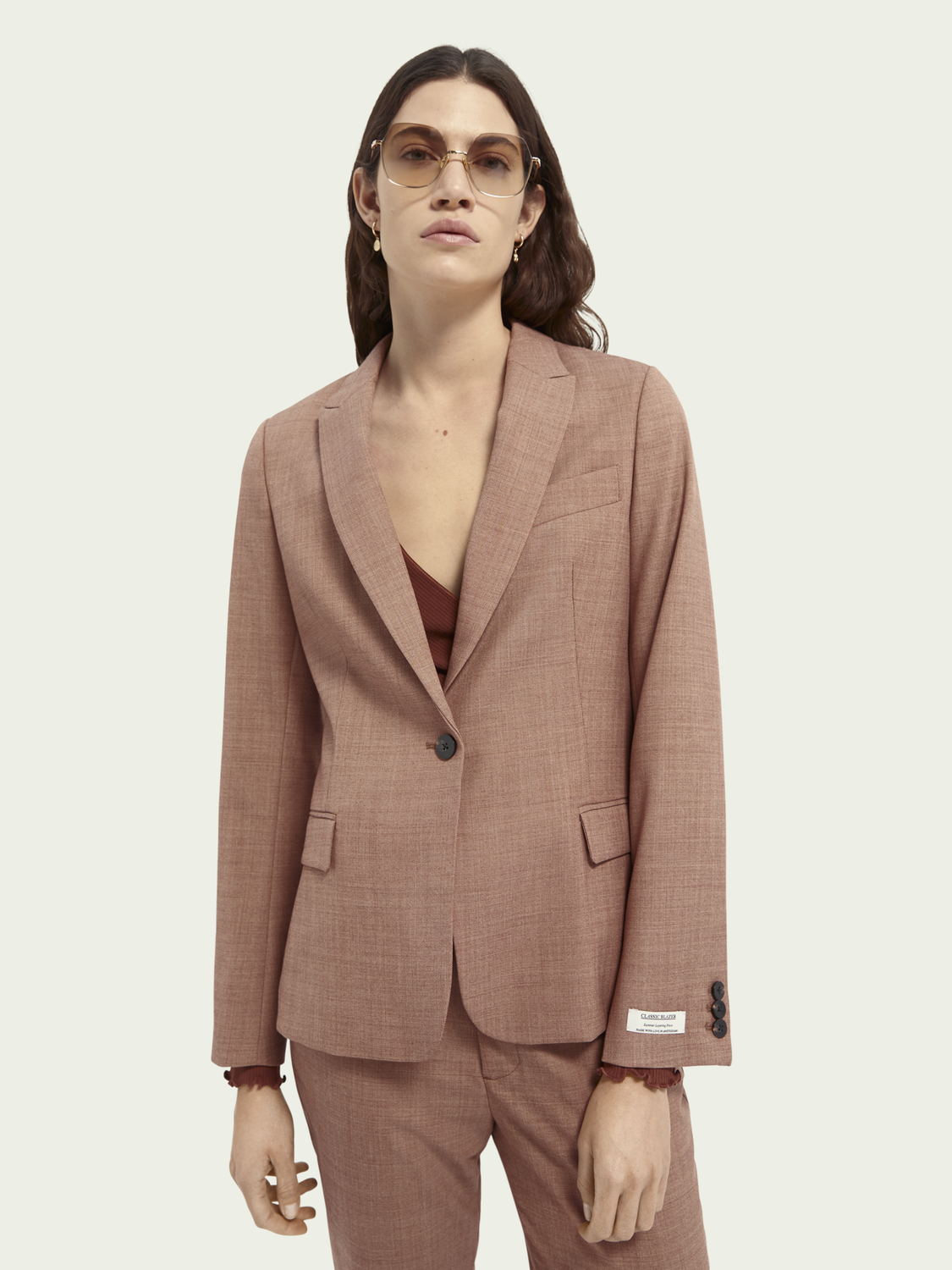 Women Classic tailored wool blend blazer