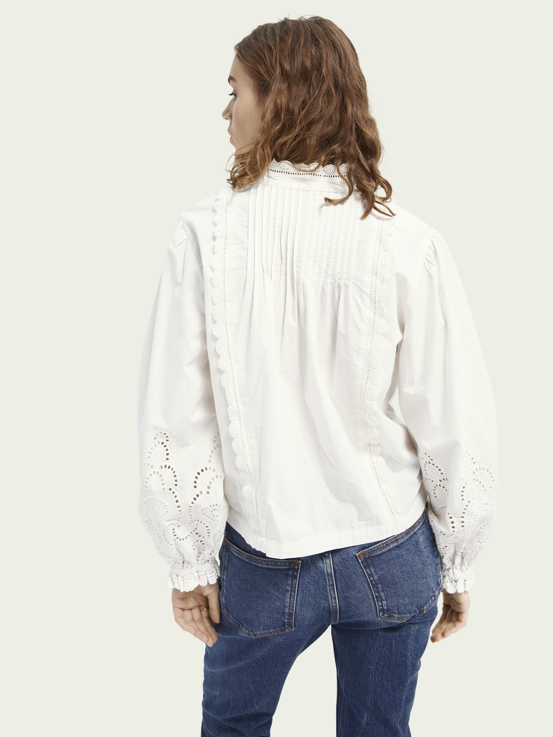 Women Organic cotton top with broderie anglaise detail