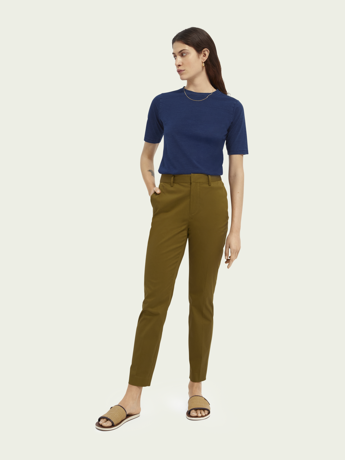 Women Bell slim-fit mid-rise stretch chinos