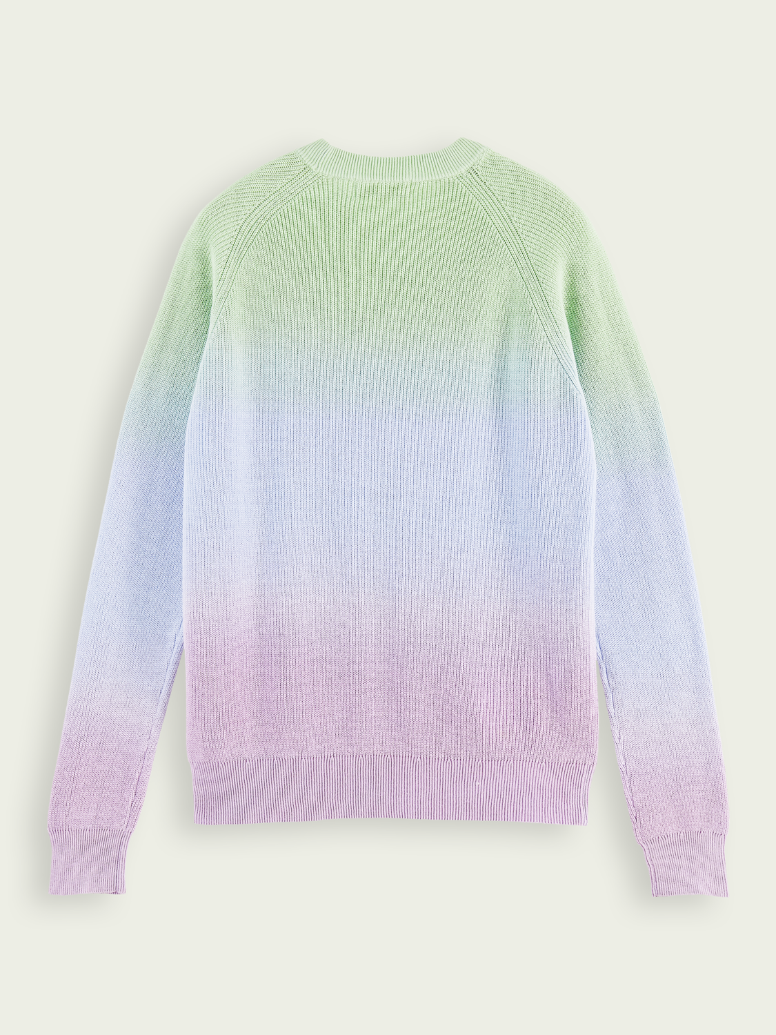 Men Dip-dyed ribbed knit cotton sweater