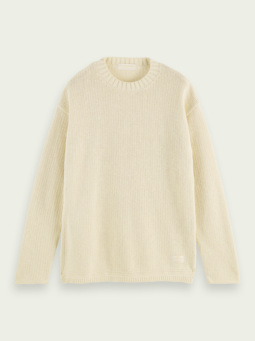 Men Textured knit sweater in recycled cotton blend