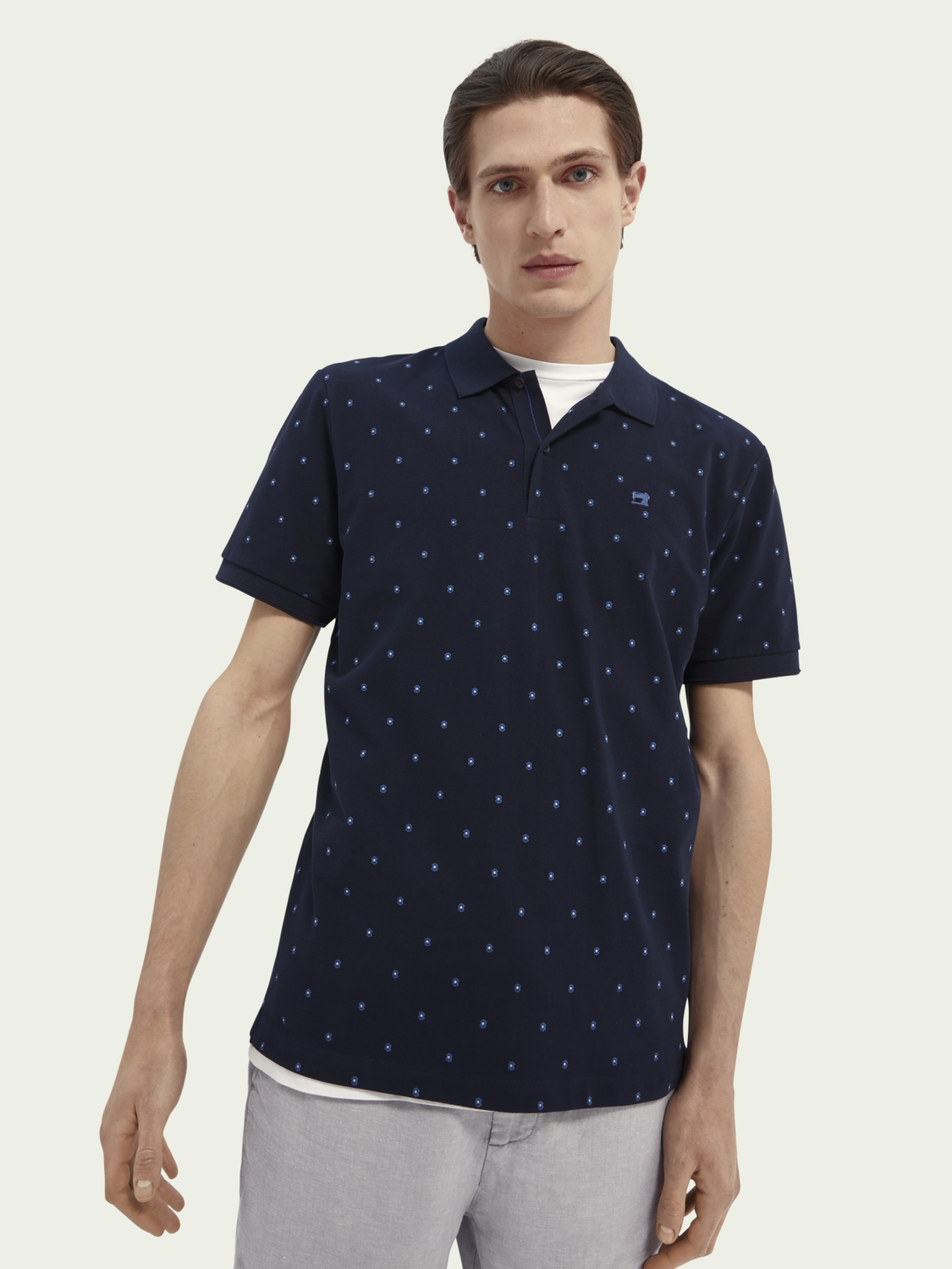 Men Printed organic cotton pique polo