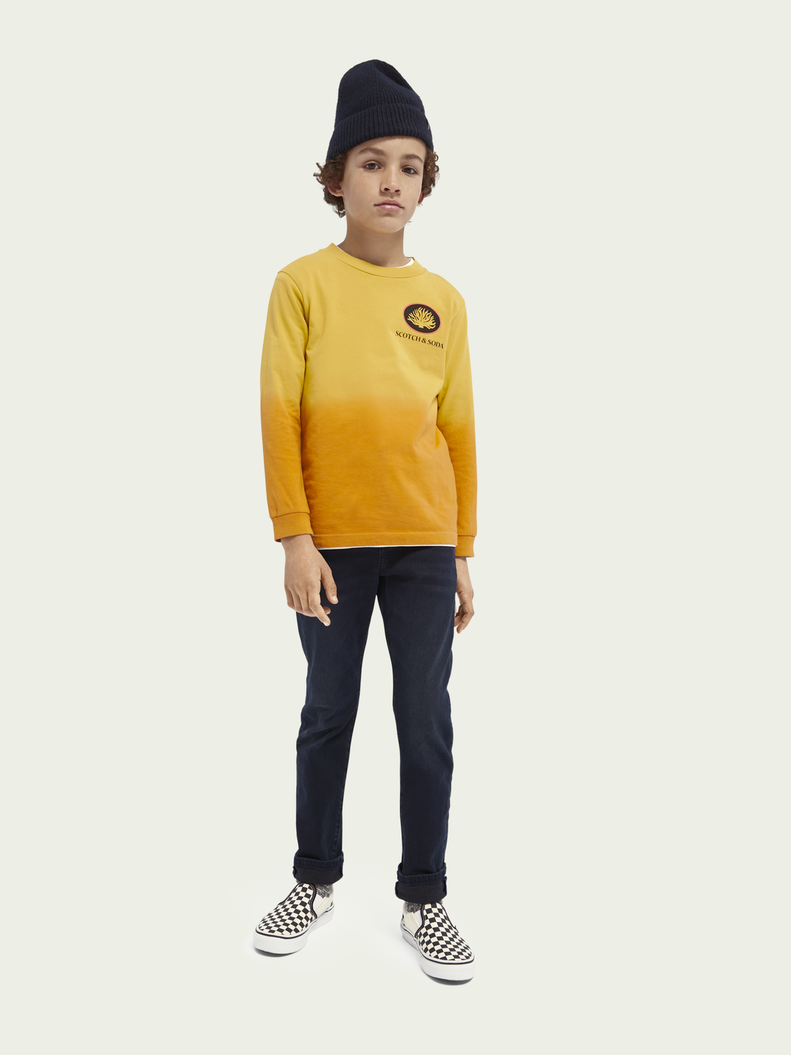 Kids Dip-dye long sleeved organic cotton T-shirt