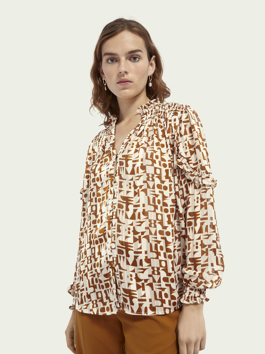 Women Printed sheer shirt
