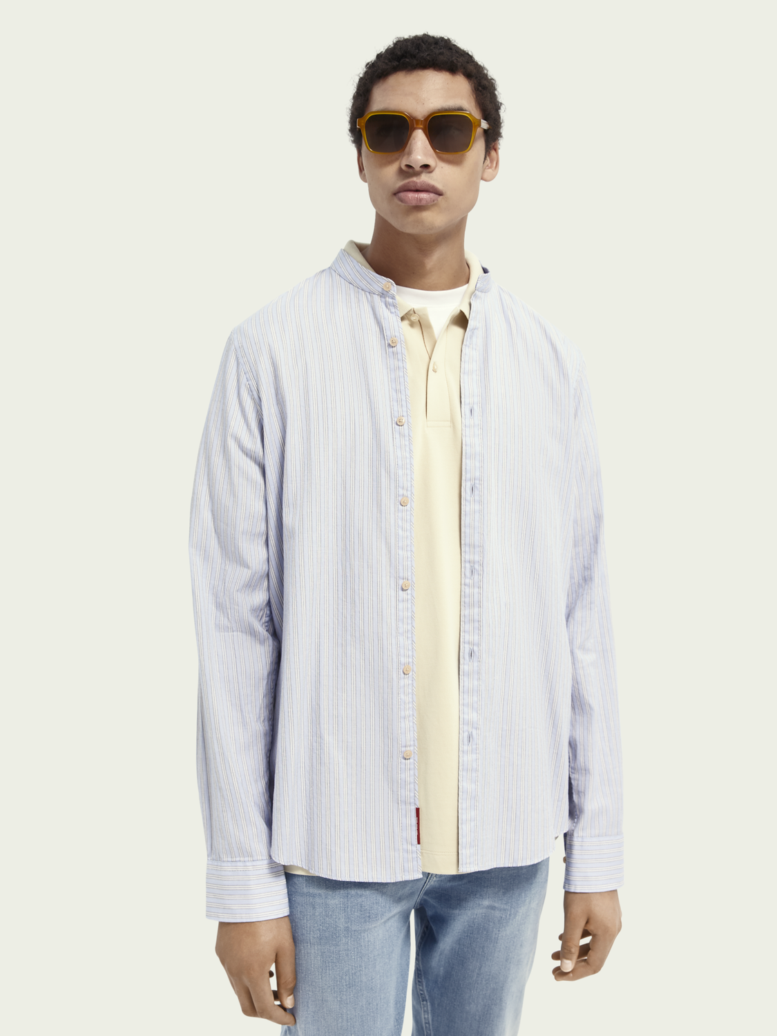 Men Collarless relaxed fit organic cotton shirt