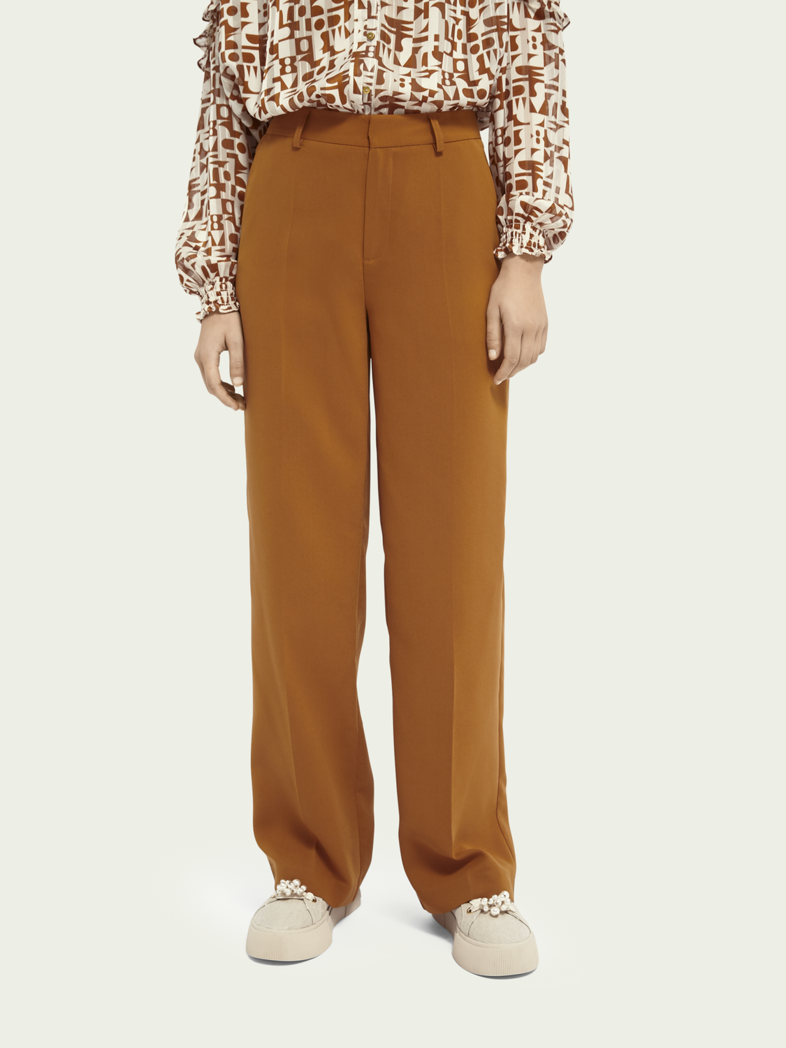 Women Wide-leg mid-rise trousers