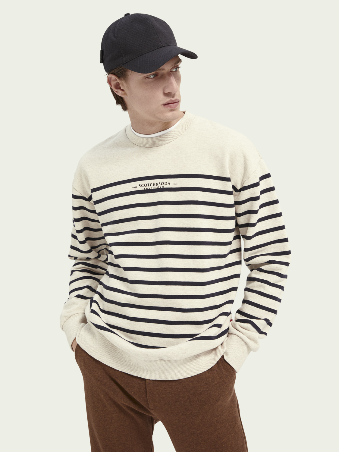 Men Striped crewneck cotton sweater