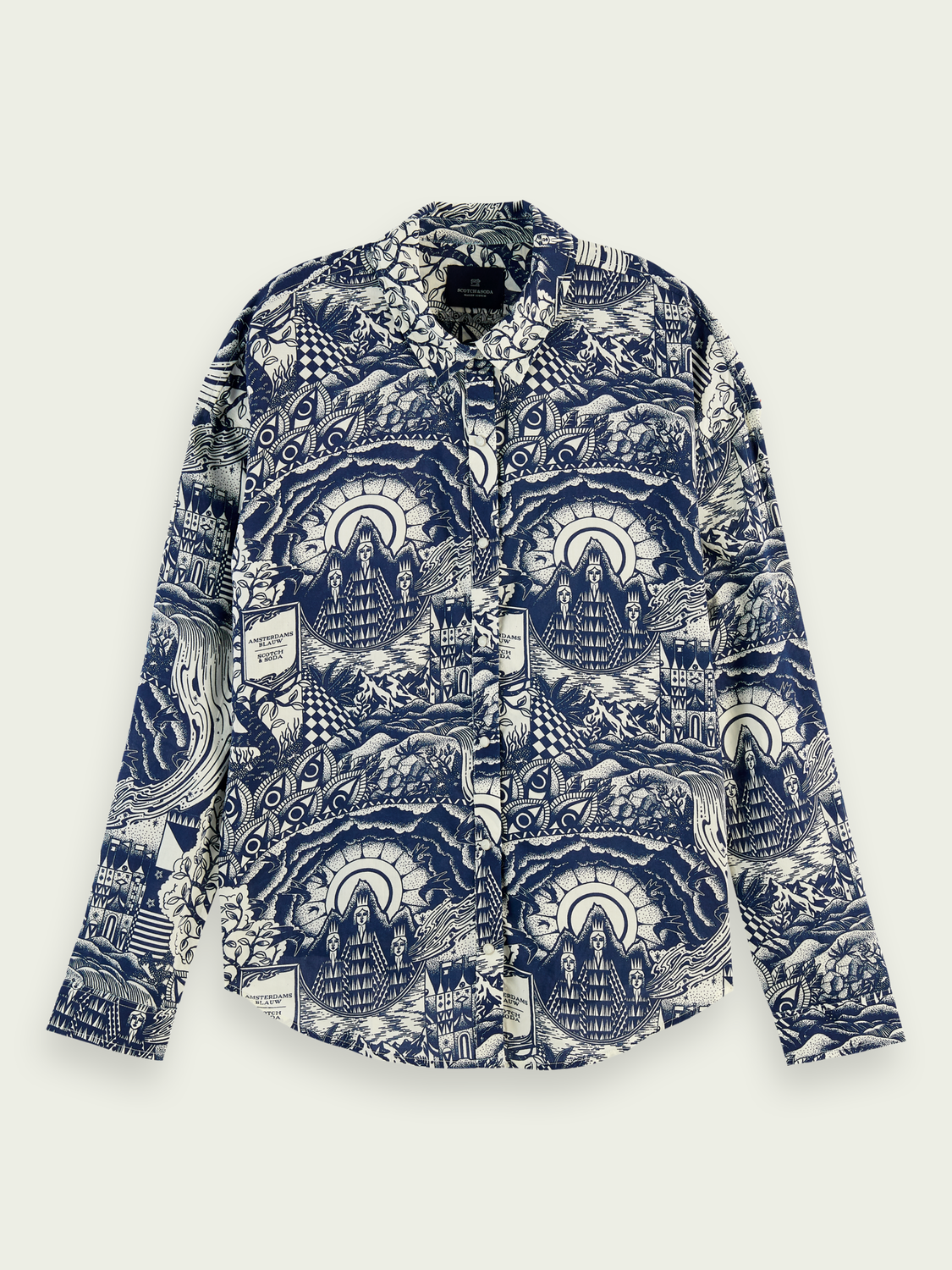 Women Oversized cotton-modal blend print shirt