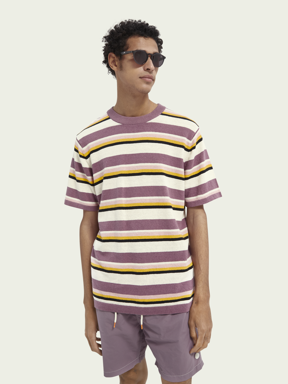 Men Linen-blend striped T-shirt