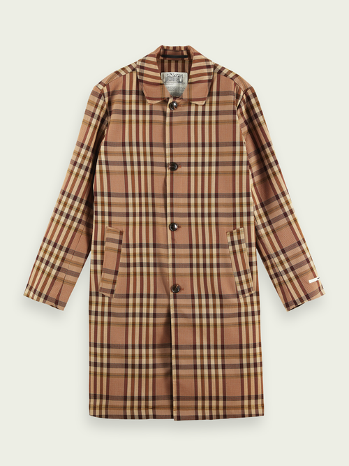Men Classic trench coat with yarn-colored checkered pattern