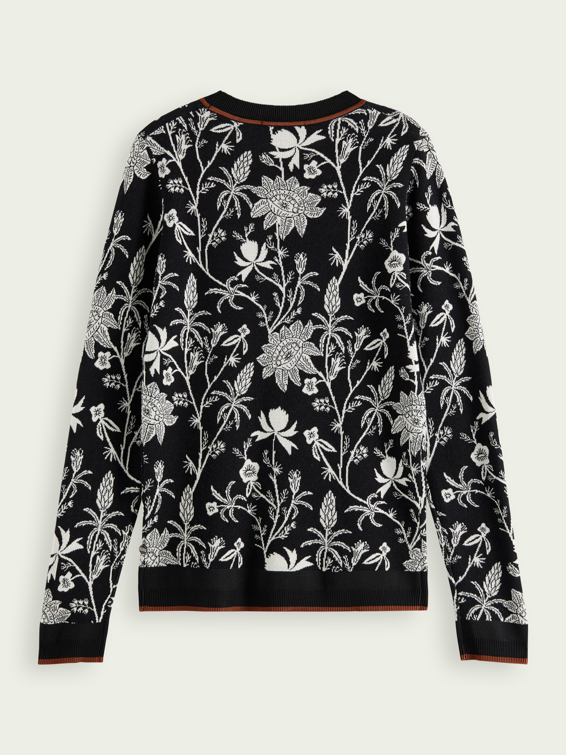 Women Knitted cotton sweater in floral-print
