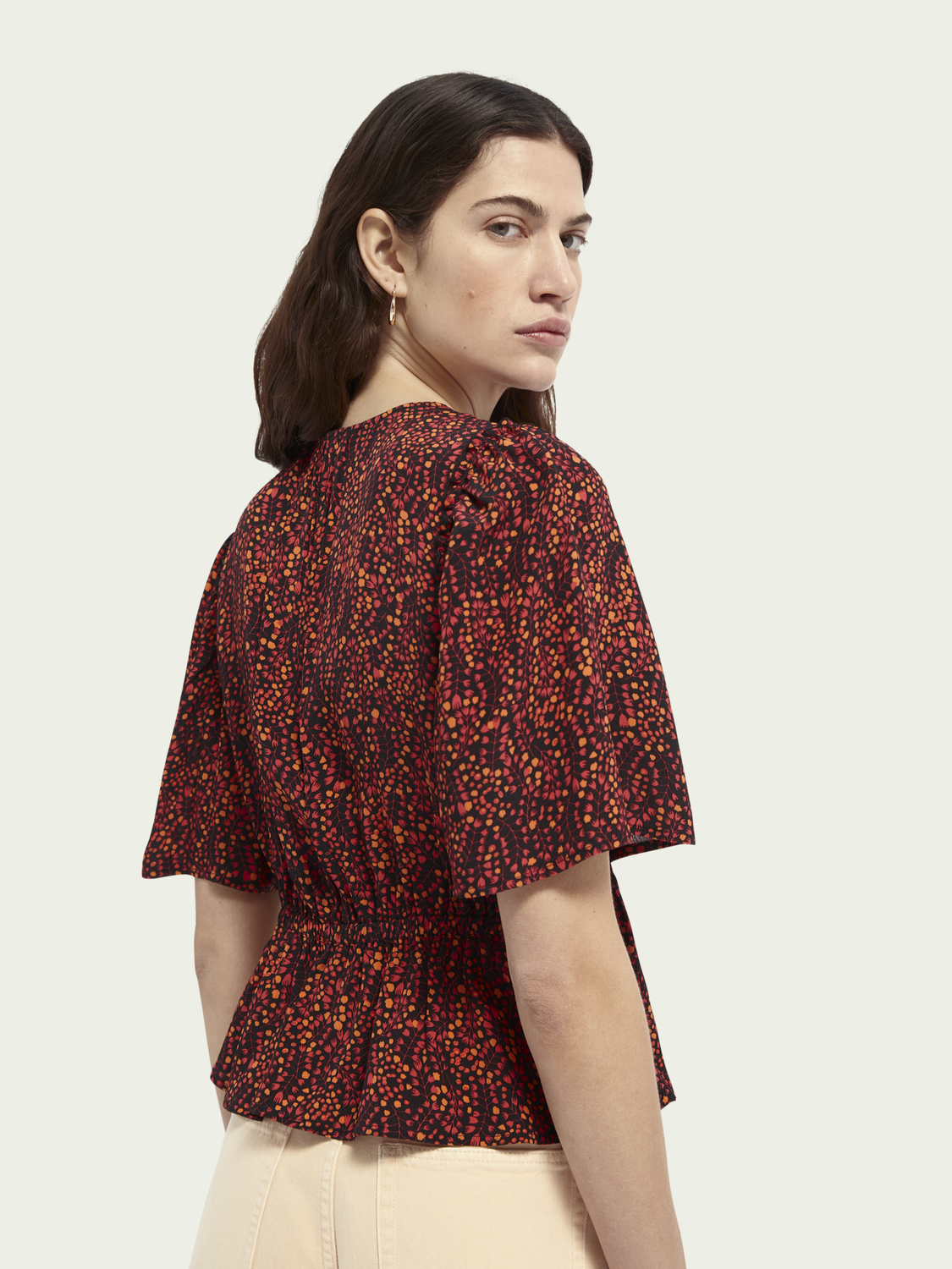 Women Gathered printed cropped top