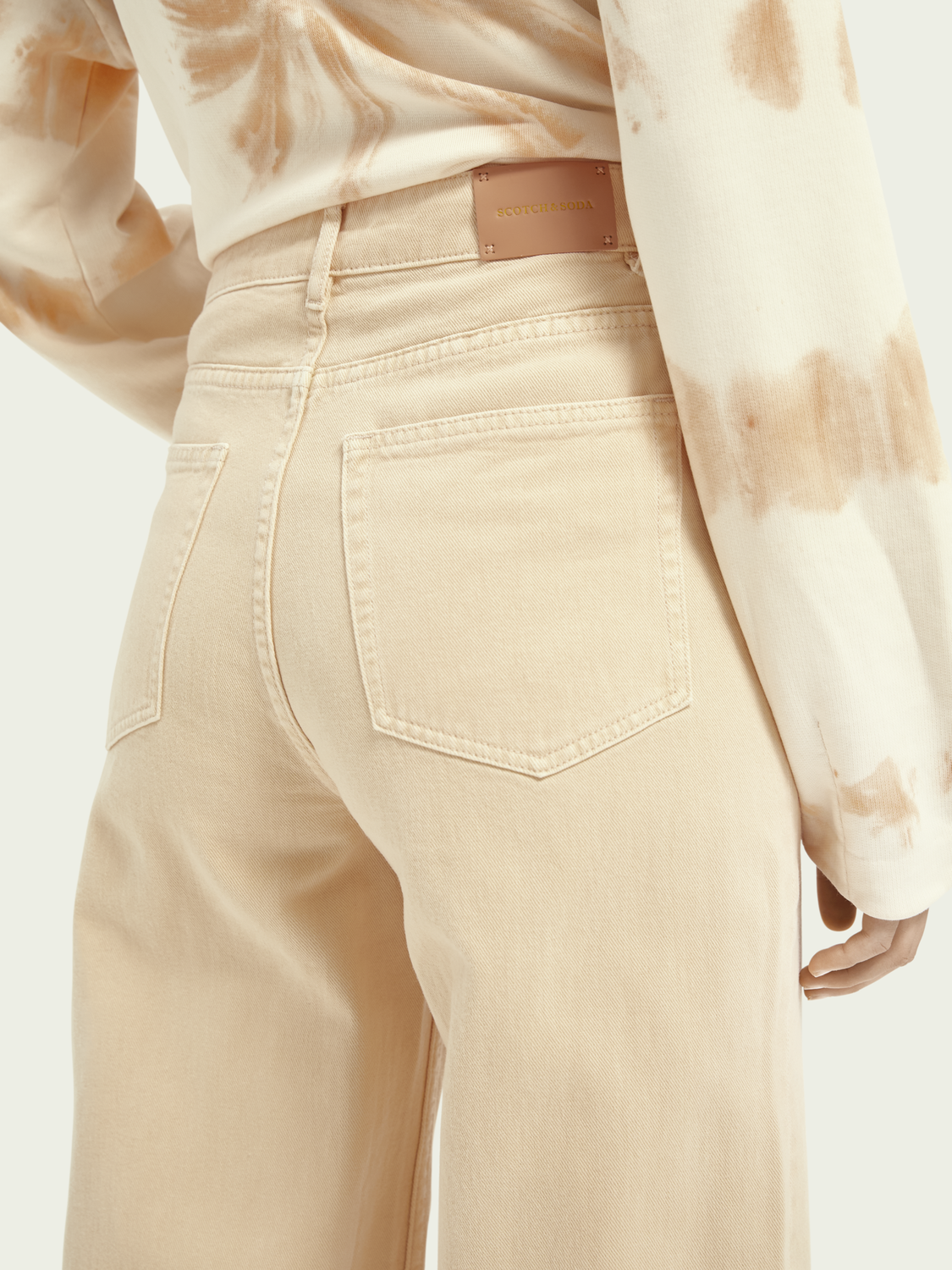Women Wide-leg twill trousers - Soft Peach