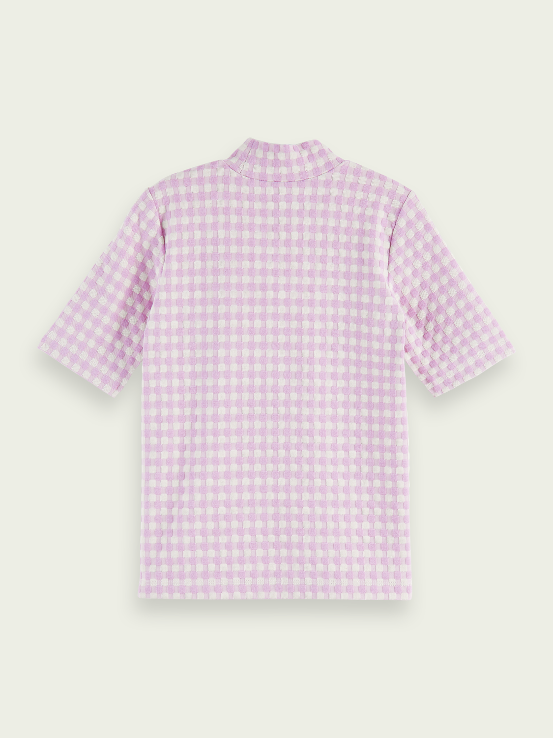 Kids Short-sleeved high neck check T-shirt
