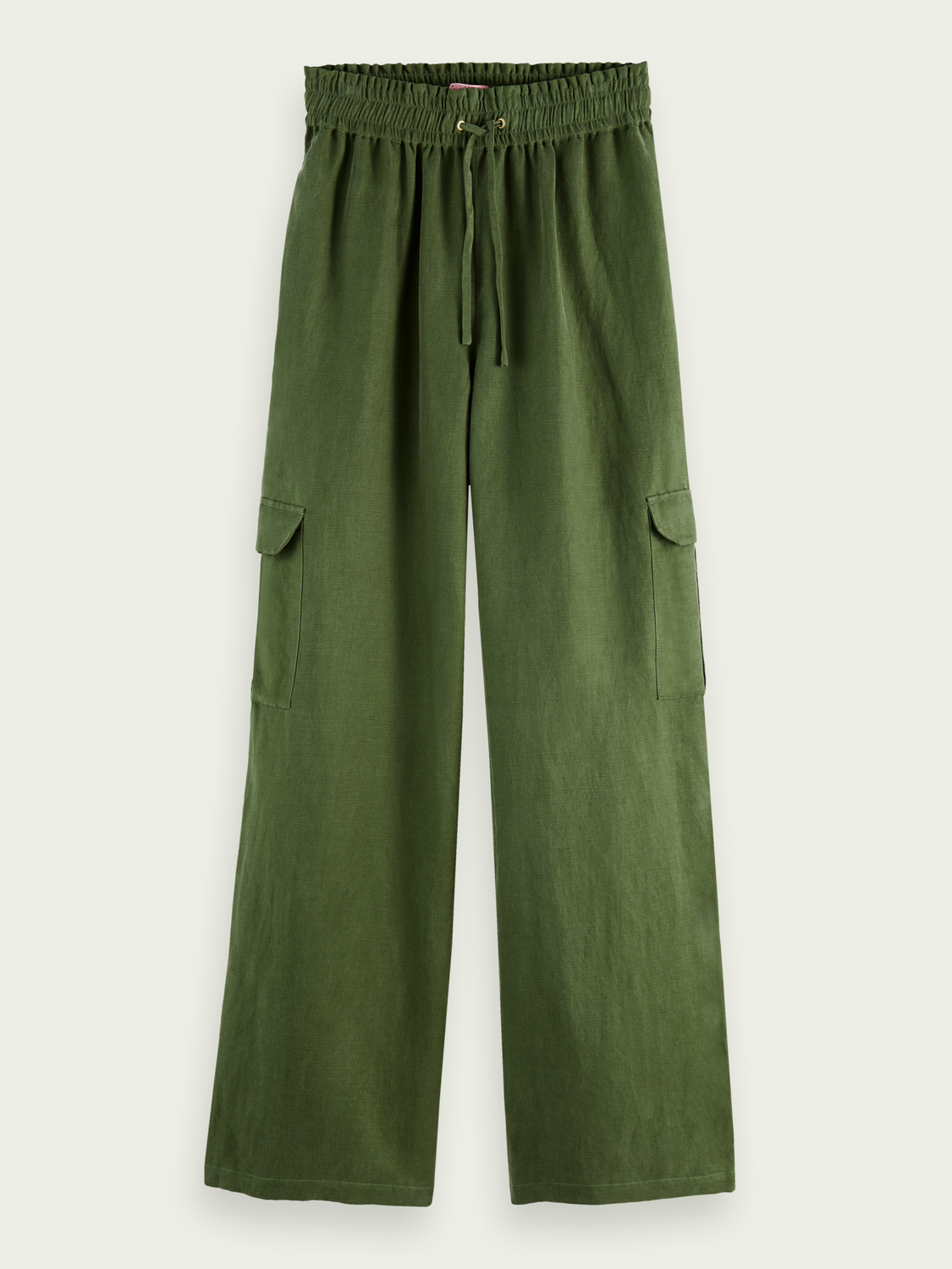 Women Wide-leg mid-rise linen-blend cargo trousers