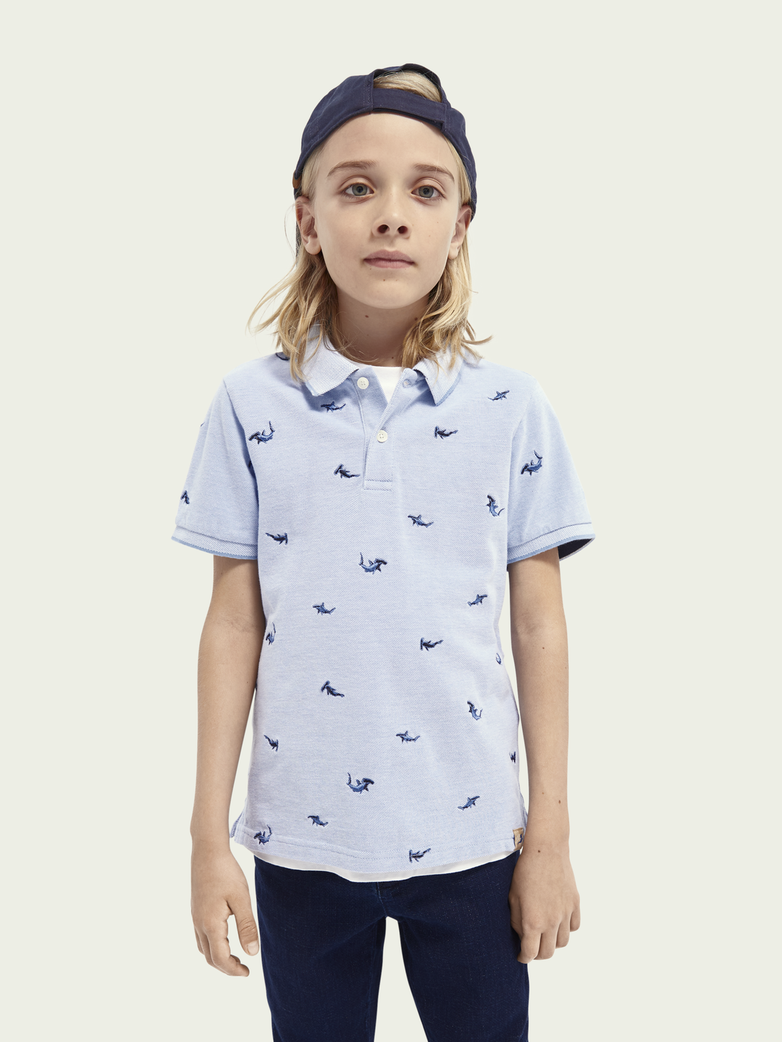 Kids Short-sleeved embroidered polo