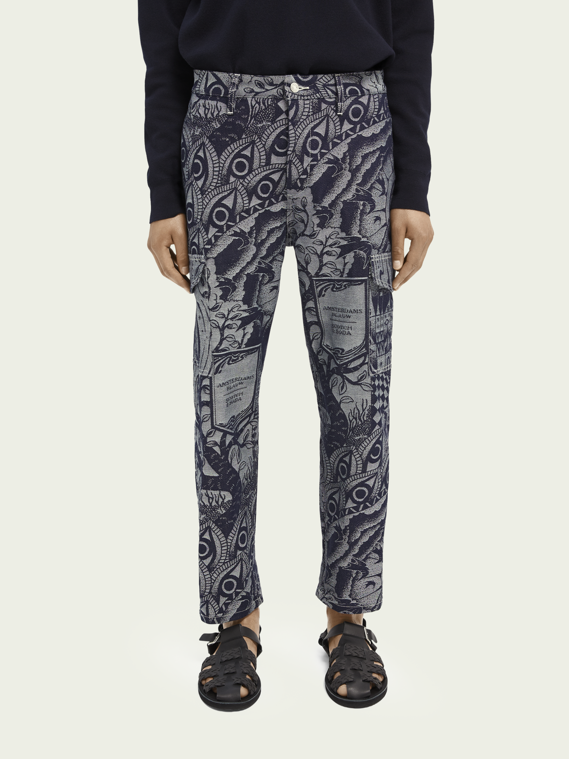 Men Jacquard cotton-blend straight leg cargo trouser
