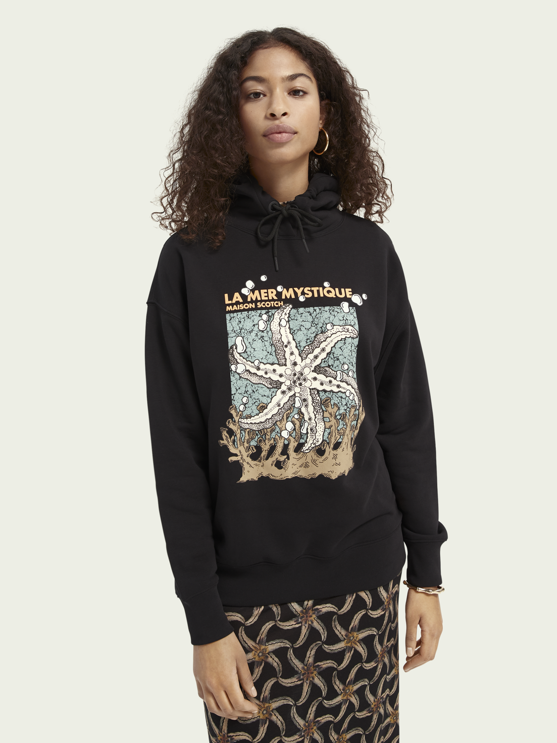 Femme Sweat-shirt à capuche loose fit avec graphisme