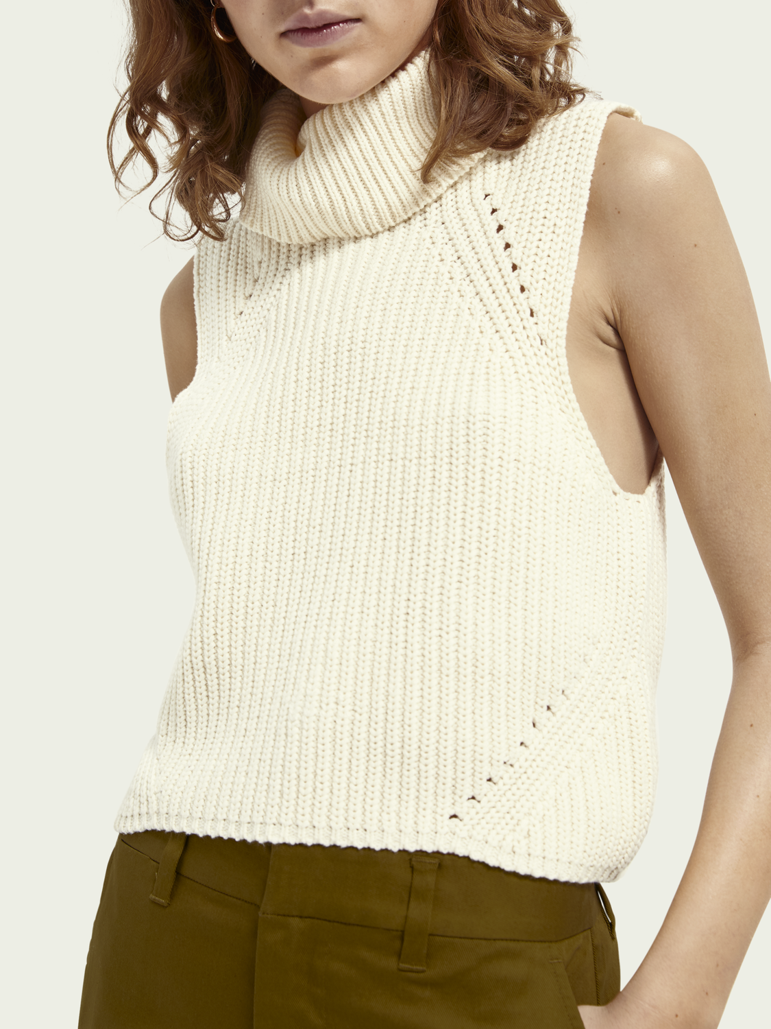 Women Knitted turtleneck short-sleeved sweater