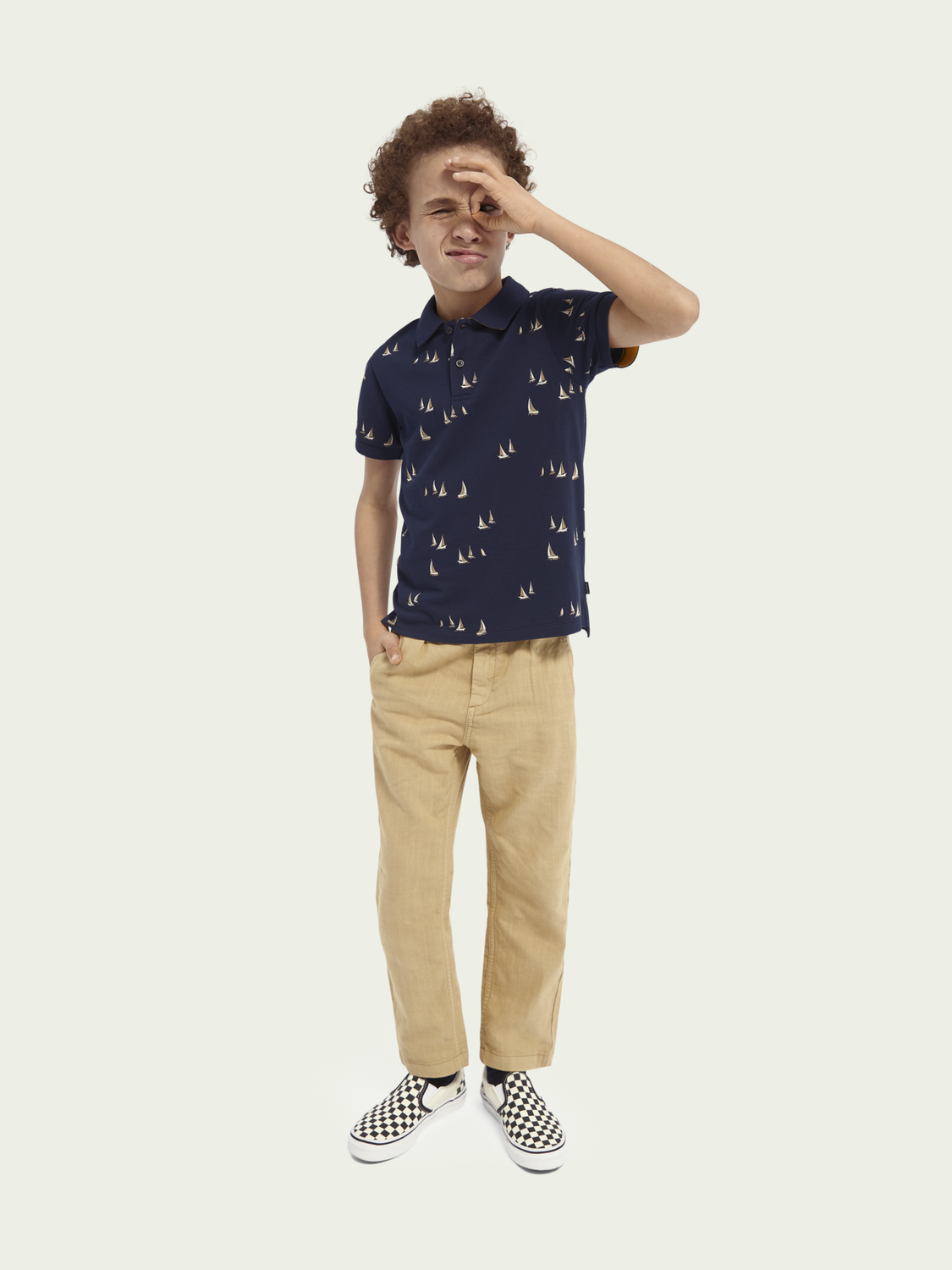 Kids Short-sleeved contrast collar polo
