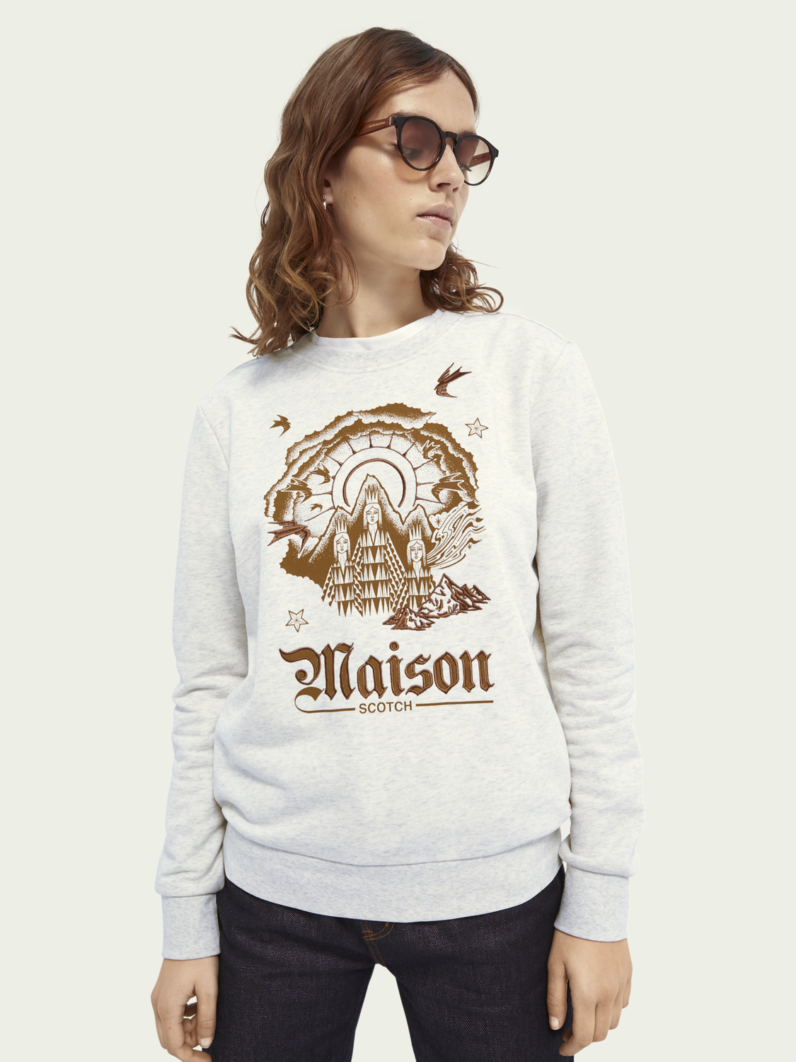 Women Crew-neck artwork cotton-blend sweater