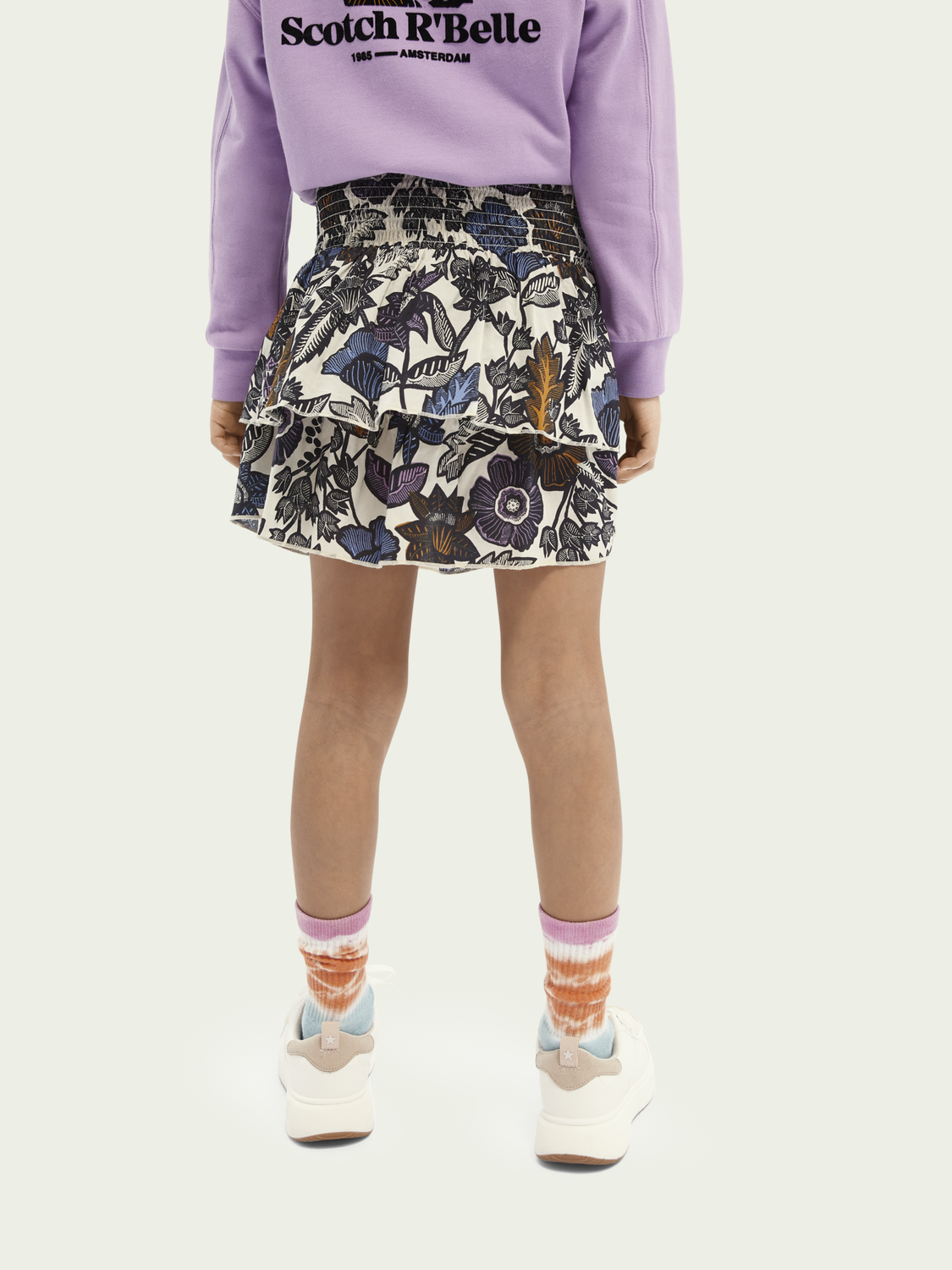 Kids Printed gathered short skirt