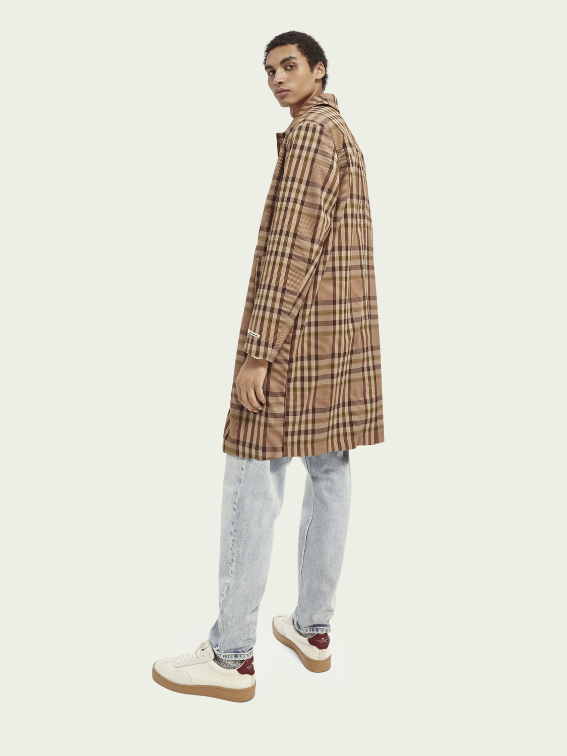 Men Classic checked yarn-dyed trench coat